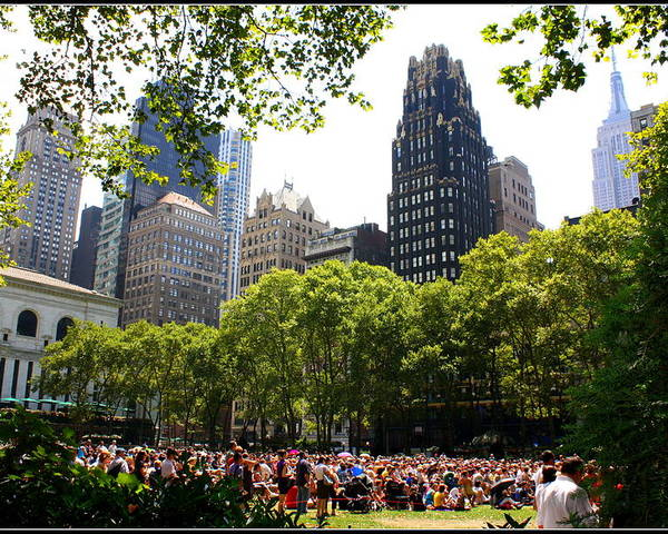 Concert At Bryant Park - Landscapes - New York - Music Concerts - Urban Images Poster featuring the photograph Concert At Bryant Park by Dora Sofia Caputo Photographic Art and Design