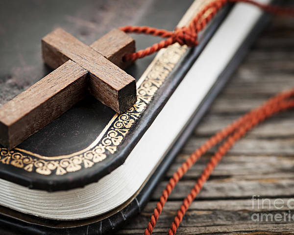 Cross Poster featuring the photograph Cross On Bible by Elena Elisseeva
