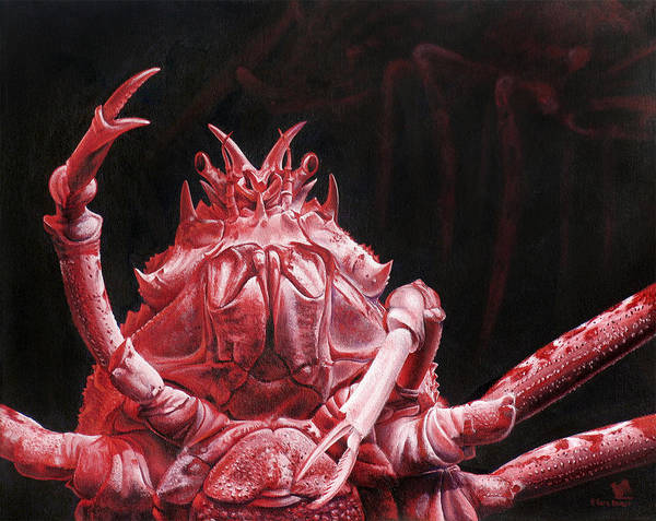 Crab Poster featuring the painting Crustacean Salutation by Cara Bevan