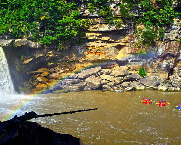 Rainbow Poster featuring the photograph Cumberland Falls Rainbow by Frozen in Time Fine Art Photography