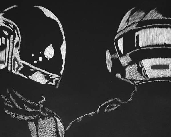 Daft Poster featuring the drawing Daft Punk by Trevor Garner