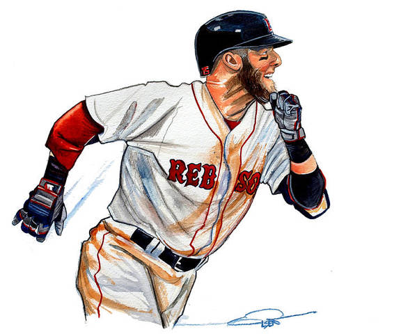 Dustin Pedroia Poster featuring the painting Dustin Pedroia by Dave Olsen