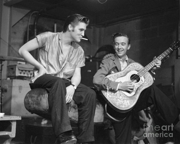 Elvis Presley Poster featuring the photograph Elvis Presley and his cousin Gene Smith 1956 by The Harrington Collection
