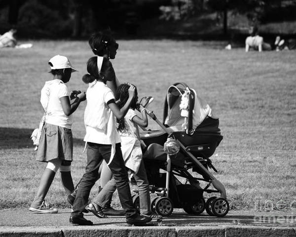 Park Poster featuring the photograph Family Walking In The Park by Giuseppe Ridino