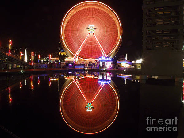 Lake Luzern Poster featuring the photograph Ferris Wheel Reflections by George Oze