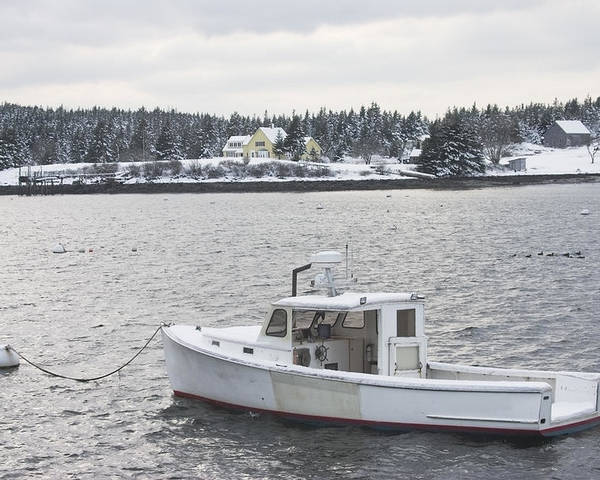 Port Clyde Poster featuring the photograph Fishing Boat After Snowstorm In Port Clyde Harbor Maine by Keith Webber Jr