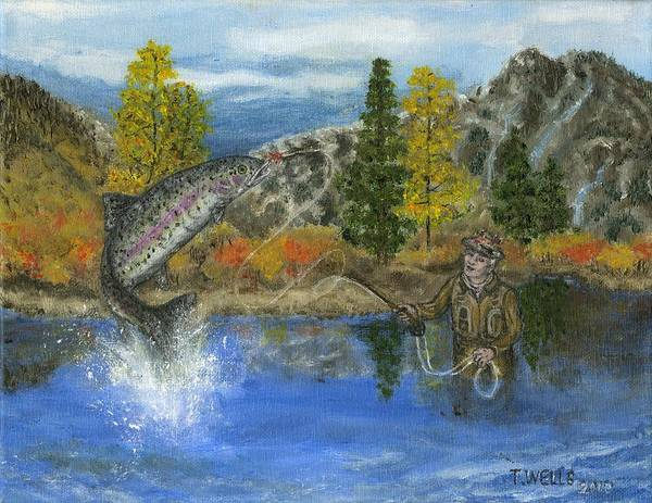 Trout Poster featuring the painting Going for the Prize by Tanna Lee M Wells