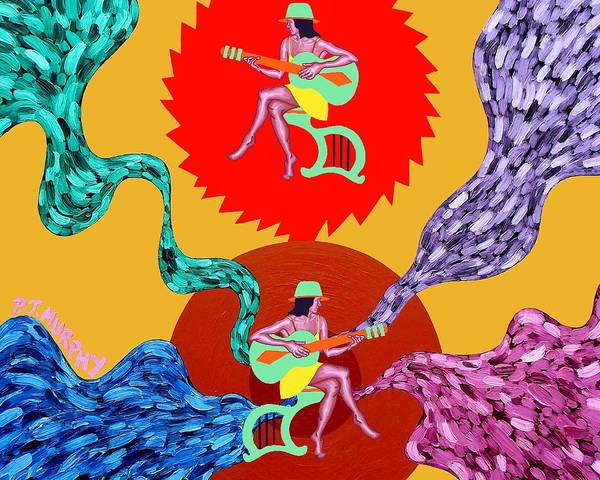 Rock Poster featuring the painting Guitars by Patrick J Murphy