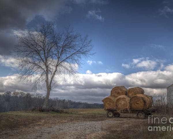 2014 Poster featuring the photograph Hay Bales On A Wagon by Larry Braun