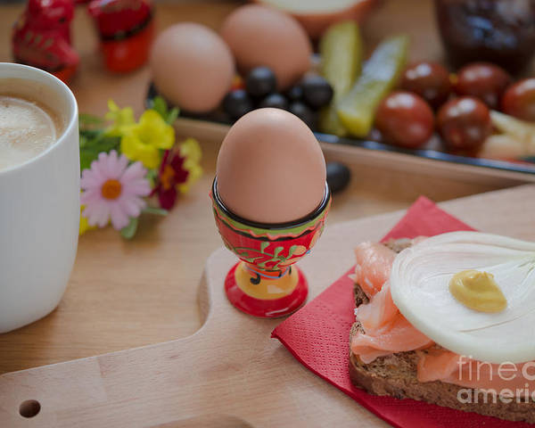 Balanced Poster Featuring The Photograph Healthy Breakfast Sandwich Boiled Eggs Coffee Flowers On Wooden Tablet By