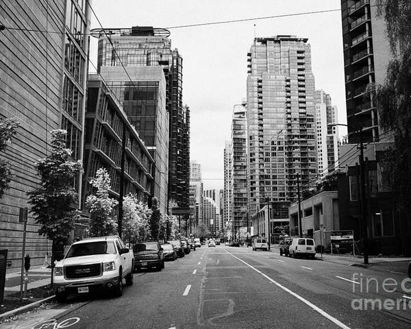High-rise Poster featuring the photograph high rise apartment condo blocks in the west end west pender street Vancouver BC Canada by Joe Fox