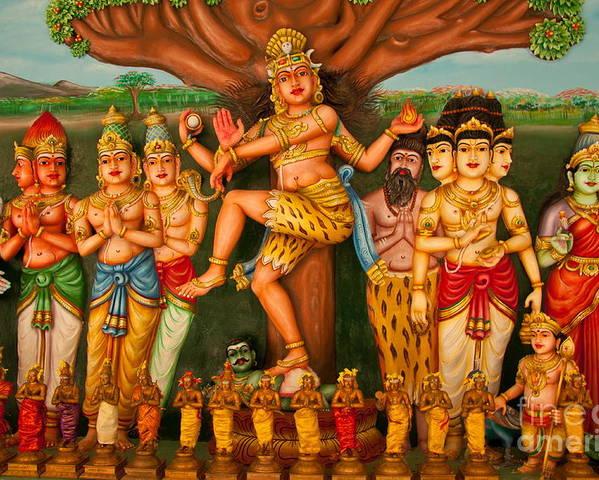 Buddha Poster featuring the photograph Hindu God by Niphon Chanthana