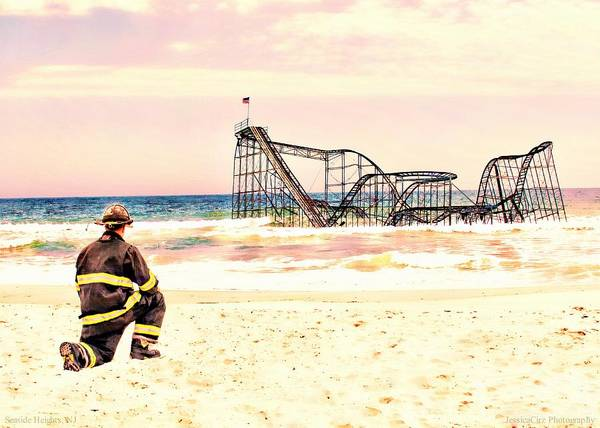 Seaside Heights Nj New Jersey Shore Hurricane Sandy Aftermath Beach Photo Photos Fireman Firefighter Firemen Dalmatian Dog Pet Fire Department Toms River Jetstar Roller Coaster Boardwalk Ocean Superstorm Photographs Poster featuring the photograph Hurricane Sandy Fireman by Jessica Cirz