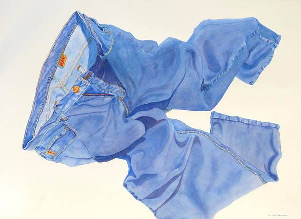 Blue Poster featuring the painting Watercolor  I Love My Jeans by Mary Ellen Mueller Legault