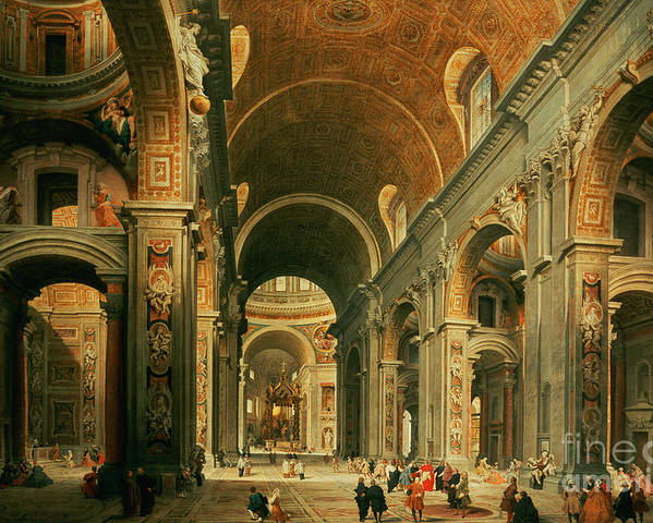 Panini Poster featuring the painting Interior Of St Peters In Rome by Giovanni Paolo Panini