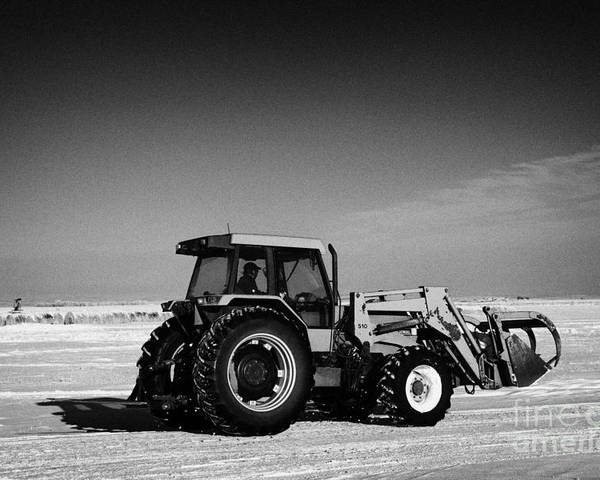 International Poster featuring the photograph international 5140 tractor with front end loader on frozen field Forget Saskatchewan Canada by Joe Fox