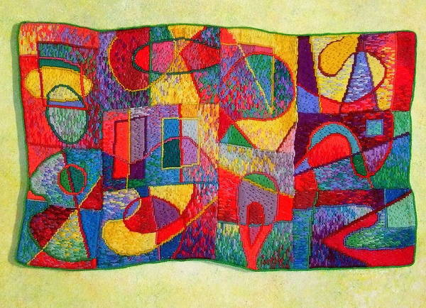 Abstract Expressionist Tapestry Poster featuring the tapestry - textile Jigsaw Tapestry by Diane Fine