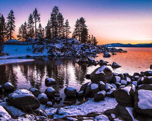 Lake Tahoe Poster featuring the photograph Lake Tahoe Winter Sunset by Brandon McClintock