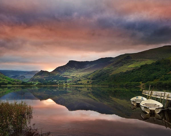 Landscape Poster featuring the photograph Llyn Nantlle At Sunrise Looking Towards Mist Shrouded Mount Snow by Matthew Gibson