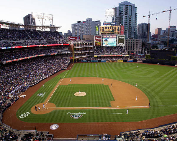 California Poster featuring the photograph Los Angeles Dodgers V. San Diego Padres by Rob Leiter
