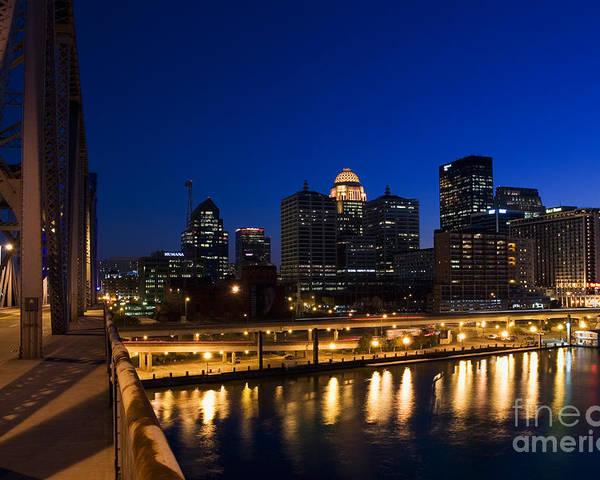 After Dark Poster featuring the photograph Louisville, Kentucky by David Davis