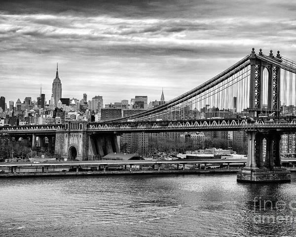 New York Canvas Poster featuring the photograph Manhattan Bridge by John Farnan