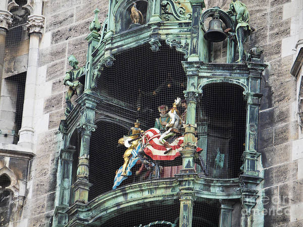 Glockenspiel Poster featuring the photograph Mechanical Clock In Munich Germany by Howard Stapleton