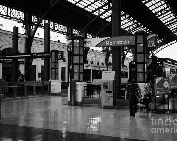 Santiago Poster featuring the photograph metrotren platforms in Santiago central railway station Chile by Joe Fox