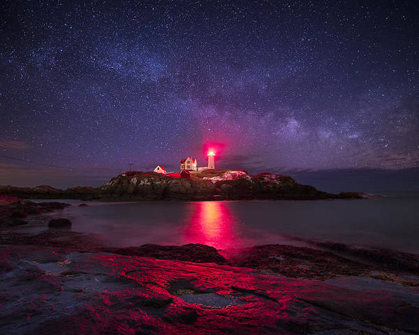Atlantic Ocean Poster featuring the photograph Milky Way Over Nubble Lighthouse by Adam Woodworth