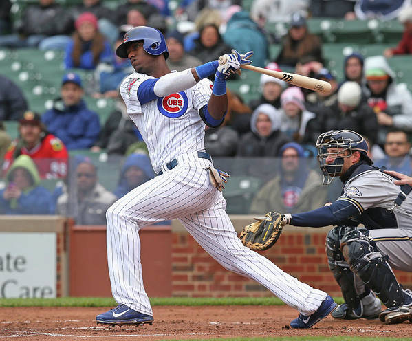 National League Baseball Poster featuring the photograph Milwaukee Brewers V Chicago Cubs by Jonathan Daniel