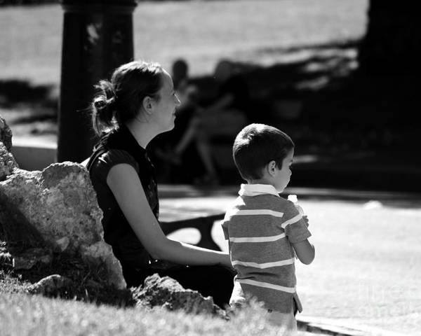 Park Poster featuring the photograph Mom And Son In The Park by Giuseppe Ridino