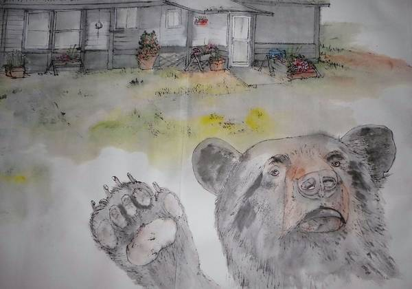 Landscape. Idaho. Bear. Poster featuring the painting Moose Is Loose Album by Debbi Saccomanno Chan