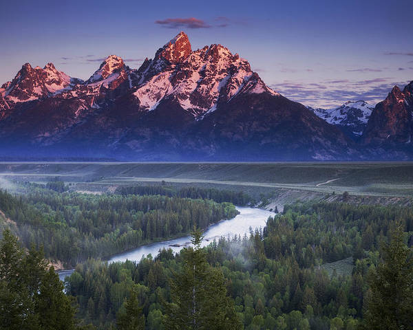 Grand Teton Poster featuring the photograph Morning Glow by Andrew Soundarajan