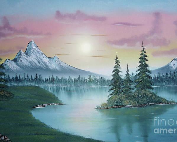 Mountain Lake Painting A La Bob Ross Poster featuring the painting Mountain Lake Painting A La Bob Ross 1 by Bruno Santoro