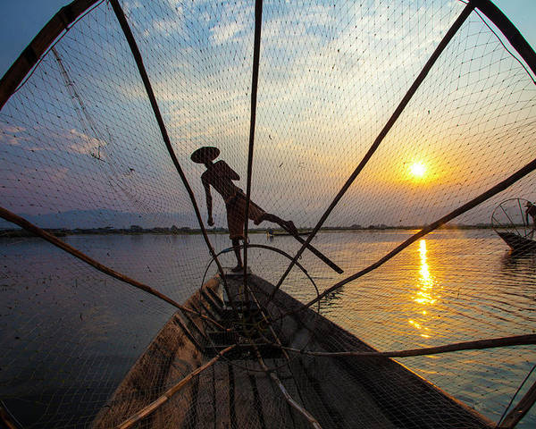 Boat Poster featuring the photograph Myanmar, Inle Lake by Jaynes Gallery