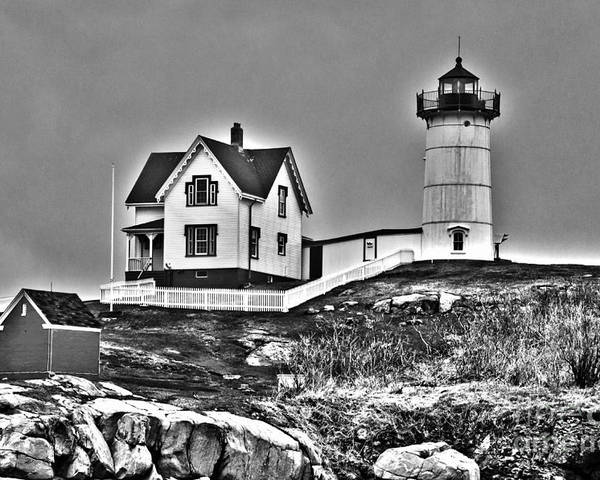 Nubble Lighthouse Poster featuring the photograph Nubble Lighthouse Cape Neddick Maine by Glenn Gordon