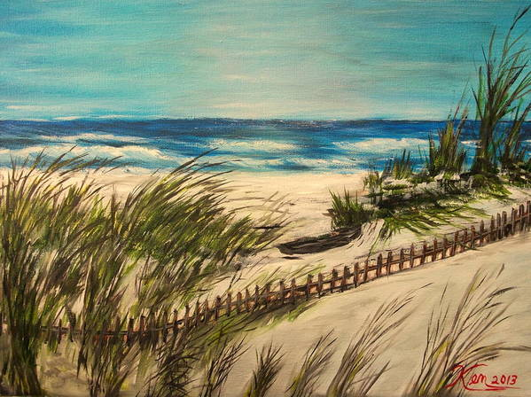 Seascape Poster featuring the painting Ocean Beach by Kenneth LePoidevin