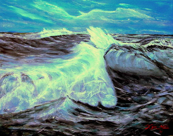 Seascape. Rough Water Poster featuring the painting Ocean Waves by Kenneth LePoidevin