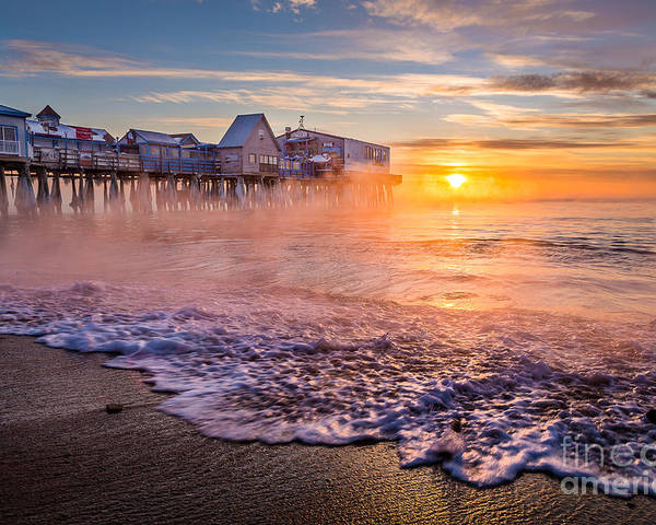 Arctic Sea Smoke Poster featuring the photograph Old Orchard Beach Sea Smoke by Benjamin Williamson