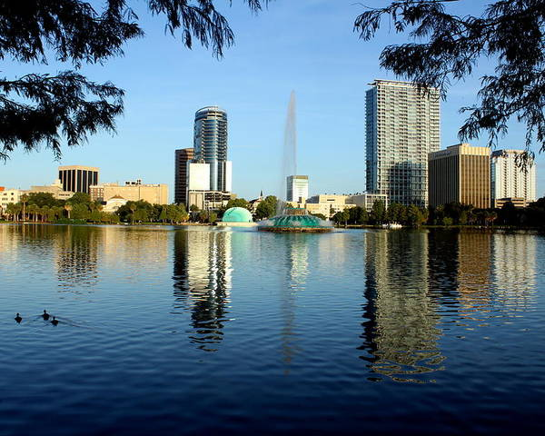 Orlando Poster featuring the photograph Orlando Fl Skyline by Frank Selvage