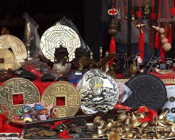 Coins Poster featuring the photograph Outdoor Shop Sells Fake Chinese Antiques by Yali Shi