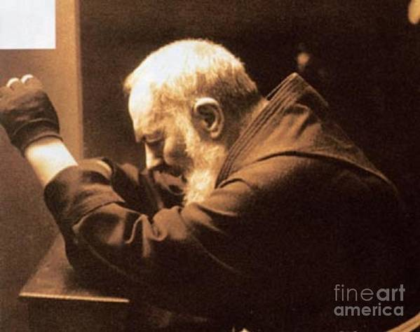 Prayer Poster featuring the photograph Padre Pio by Archangelus Gallery
