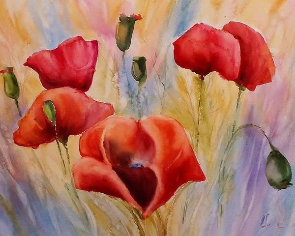 Flowers Poster featuring the painting Poppies by Olga Lazareva