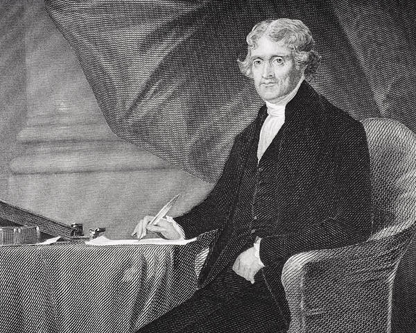 Thomas Jefferson Poster featuring the drawing Portrait Of Thomas Jefferson by Alonzo Chappel
