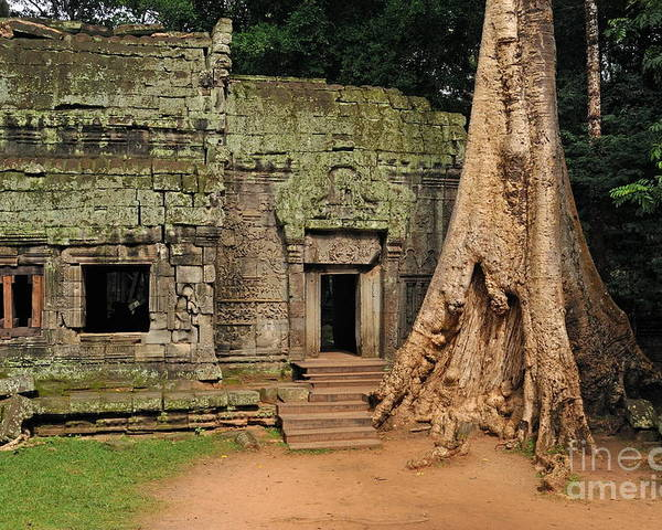 Preah Poster featuring the photograph Preah Khantemple At Angkor Wat by Sami Sarkis