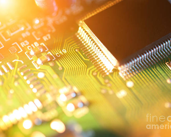Circuit Poster featuring the photograph Processor Chip On Circuit Board by Konstantin Sutyagin
