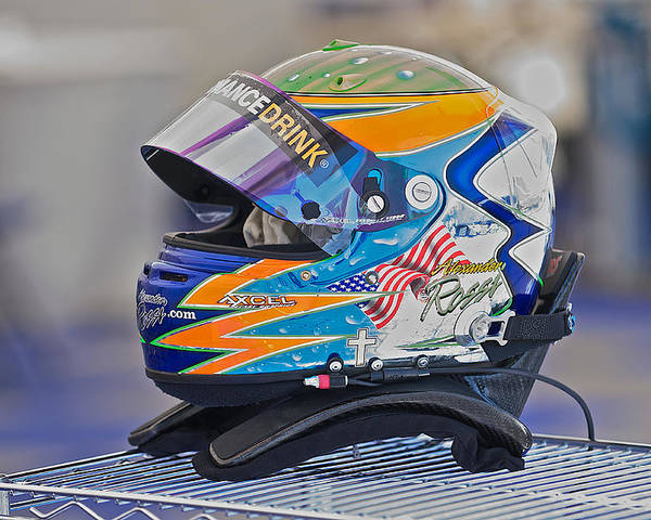 Auto Poster featuring the photograph Racing Helmet 2 by Dave Koontz