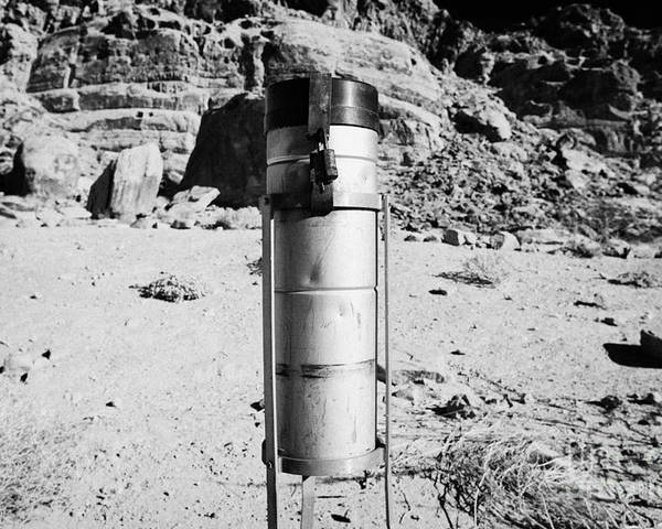 Valley Poster featuring the photograph Rain Gauge At Valley Of Fire State Park Nevada Usa by Joe Fox