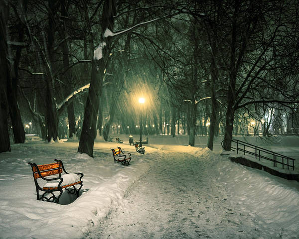 Background Poster featuring the photograph Red Bench In The Park by Jaroslaw Grudzinski