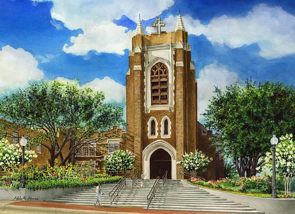 Saint Andrew's Episcopal Church Poster featuring the painting Saint Andrews Episcopal Church Bryan Texas by Hailey E Herrera